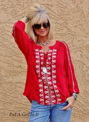 PLUS SIZE RED amp; WHITE EMBROIDERED PEASANT GYPSY BOHO SLEEVE SHIRT 1X 2X 3X $26.05
