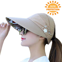 Sun Hats For Women Adjustable Summer UV Protection Wide Brim Foldable Mesh Caps  $7.99