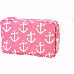 Cosmetic Bag Preppy  Pink with Anchor Print Brand New Nautical