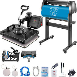 5in1 Heat Press 12x15 Vinyl Cutter Plotter 34 Digital Printer Sticker Print $452.19