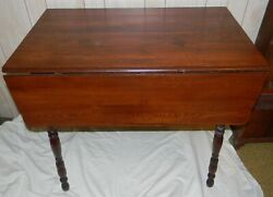 ANTIQUE FARM HOUSE SMALL KITCHEN PINE TOP DROP LEAF TABLE RESTORED NICE PATINA