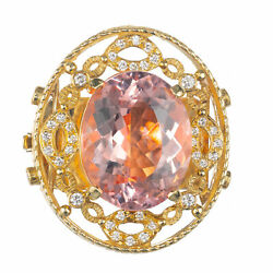 Doris Panos 18k Yellow Gold 23.06ct Morganite Diamond Pendant Slide