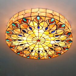 Vintage Tiffany Style Ceiling Light Flush Mount Lamp Stained Glass Chandelier $139.00