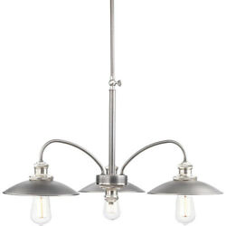 Farmhouse 3 Light 28quot; Chandelier Antique Nickel New In Box $123.99
