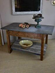 Antique French table with zinc top florist or oyster table $4331.80