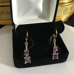 Stunning Gold Tone Dangly Square Purple Cubic Zirconia Earrings