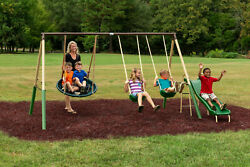 METAL PLAYGROUND SWING SET Outdoor Slide Kids Children Backyard Swingset Seat $209.95