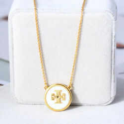 Tory Burch Mother of Pearl Gold Logo Pendant Chain Necklace - New Style
