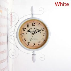 Double-Side Wall Mount Clock with Mute Movement Home Office Hotel Decor Gift