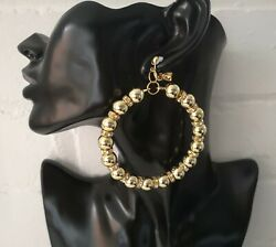 Gorgeous 9cm long large gold tone bead & diamante  CLIP - ON hoop drop earrings
