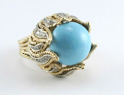 Large 1970's Persian Turquoise & Pave Diamond RIng 14k Yellow Gold Size 8