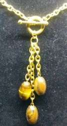 Gold Tigard Eye Toggle Necklace