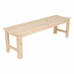 Shine Company 5 Foot Backless Yellow Cedar Bench for Garden and Patio Natural