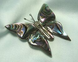 Mexican Test Silver & Abalone Butterfly Pin  old eagle mark #3  2