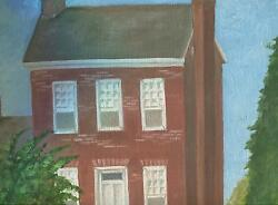 AMERICANA VINTAGE FOLK ART RED BRICK SALT BOX HOUSE TREES FLOWERS ART PAINTING