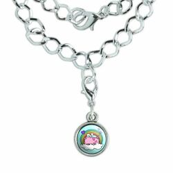 Cute Unicorn Pig with Rainbow Silver Plated Bracelet with Antiqued Charm