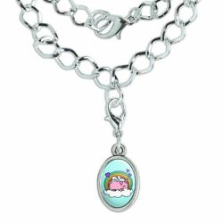 Cute Unicorn Pig with Rainbow Silver Plated Bracelet with Antiqued Oval Charm
