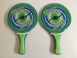 Vintage 2x Lot Sportcraft RAZZ PADDLE Racket Ball 16quot; Green Wood Outdoor Games $28.99