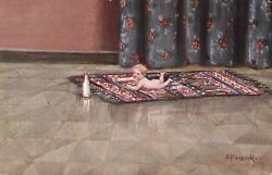 Elly Frank Children Baby on a Carpet Trying to Reach a Bottle Funny Old Pc. $9.99
