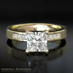 Ladies Diamond Engagement Ring Princess Cut Solitaire With Side Stones