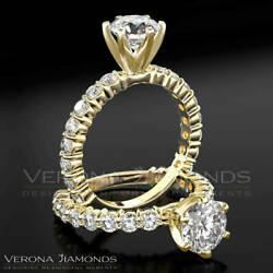 Solitaire With Accents Diamond Engagement Ring D VS Round Cut