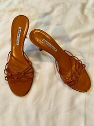 "Vintage CHARLES DAVID Leather Slide SANDALS Burnt Orange 3"" High Heels 8.5 B"