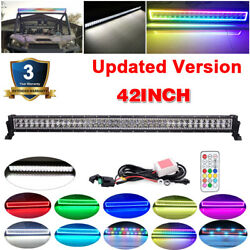 42 inch LED Light Bar Spot Flood RGB Halo Ring Chasing Offroad Driving Truck 40