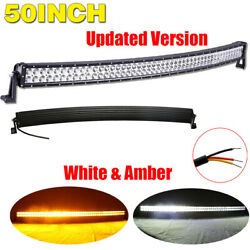 Curved Dual Color 50inch Amber White Led Offroad Light Bar For SUV ATV Truck 4X4