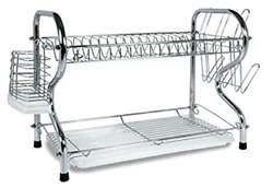 2 Tier Dish Rack Basics Drainer Chrome Cup Drying Kitchen Stainless Steel Best