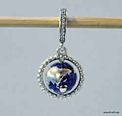 NEWTAGS AUTHENTIC PANDORA SILVER CHARM SPINNING GLOBE CHARM #798021CZ