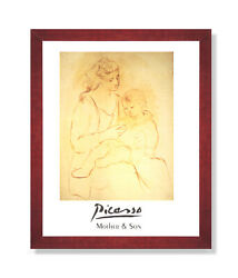 Picasso Mother And Son Contemporary Wall Picture Cherry Framed Art Print $59.97