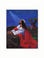 African American Black Jesus Praying at Gethsemane Wall Picture 8x10 Art Print