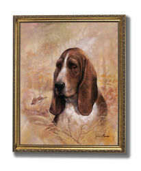 Forever Faithful Basset Hound Puppy Dog Wall Picture Gold Framed Art Print $64.97