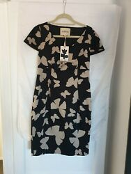 HAVREN DESIGNER MIDI PARTY DRESS BUTTERFLY PRINT FRONT BOW BLACK PINK SIZE10 NEW