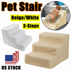 US Pet Puppy 3 Steps Dog Cat Stairs Ladder Climb Ramp WCover for Couch or Bed