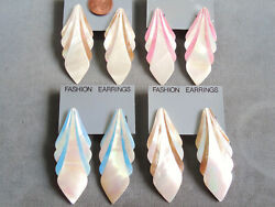 Vintage NOS lot 4 prs gorgeous big pink blue taupe mother pearl pcd earrings D53