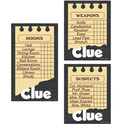 CLUE GAME CUTOUT DECORATIONS 3 Birthday Party Supplies Hasbro Paper Room Wall $5.99