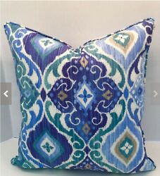 Decorative Outdoor Pillow Cover in Blue Fresca Ikat Fabric with Self Welt Piping