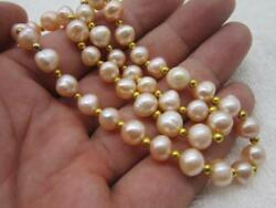 beautiful 9-10MM 20 inch south sea Natural pink pearl necklace yellow claps  !