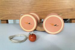 Vintage BRIERE Folk Art Wooden Pull Toy 1986 Bunny Carrot Pull Cart #576