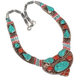 E4552 Turquoise Red Coral 925 Sterling Silver Plated Tribal Necklace 14