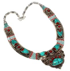 E4574 Turquoise Red Coral 925 Sterling Silver Plated Tribal Necklace 14
