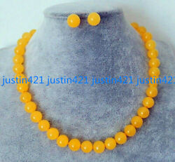 Natural 6810mm Yellow Jade Round Gemstone Beads Necklace Earrings Set AAA 18