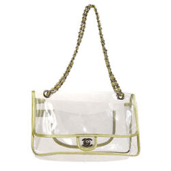 Authentic CHANEL CC Double Chain Shoulder Bag Clear Gold Vinyl Leather NR12455