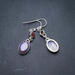 Copper Turquoise and Garnet 925 Sterling Silver Earrings 1.75