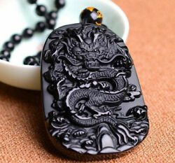 Natural Jewelry Lucky Amulet Black Dragon Pendant Necklace Obsidian Carving AAA