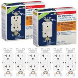 6 Pack Leviton SmartlockPro GFNT2 3W GFCI Self Test Outlet 20A 125V White