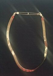 """10KT SOLID GOLD 15"""" HERRINGBONE NECKLACE 14KT CLASP Made in ITALY"""