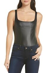 NWOT $68 Free People 'She's A Vegan' Faux Leather Bodysuit Size M
