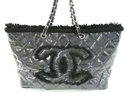 Auth CHANEL Patent Toile Chain Tote Clear Black Vinyl Tweeds Tote Bag